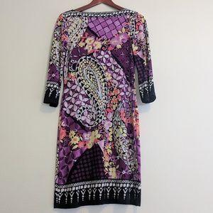 ✨eci purple paisley patterned knit dress strech 4